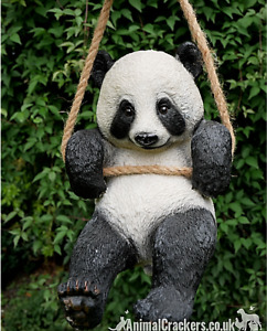 "Large 12"" Rope hanging Panda tree garden ornament decoration wildlife lover gift"