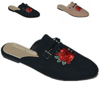 New Women's Backless Slip On Embroidery Mule Flats Shoes