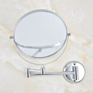 Polished Chrome Dual Arm Extend Bath Mirror Wall Mount Magnifying Makeup Mirror