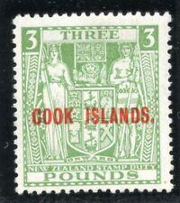 Cook Islands 1936 KGVI £3 green MLH. SG 123b. Sc 107.