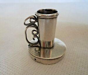 UNUSUAL 19TH CENTURY WHITE METAL SMALL CHAMBERSTICK