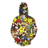 Super Mario Star 3D Print Zip Hoodie Women/Men Cartoon Sweatshirt Jacket Jumper