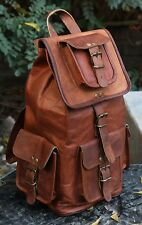 "16"" mens womens Genuine Leather big large backpack rucksack laptop school bag"