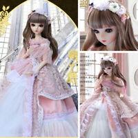60cm 1/3 BJD Doll Puppe Mädchen mit Augen Gesicht Make-up Kleidung Set Gift Toys