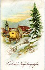 uralte AK, Die besten Neujahrsgrüße, Kutsche im Schnee auf dem Weg zur Kirche