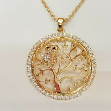 Small Gold Owl Crystal Fashion Pendant Tree of Life Sweater Necklace