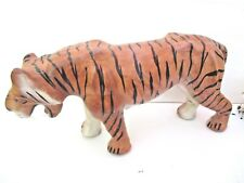 Leather Wrapped Tiger Glass Eyes Animal Wild Cat Figurine 6558