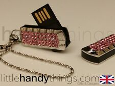 Señoras/Girls Rosa De Cristal Efecto Bling 8GB USB Flash Drive/Pluma Memory Stick