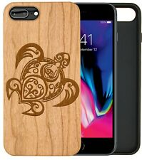 iPhone Samsung Huawei Pixel Real Wooden Phone Case Engraved Tribal Turtle