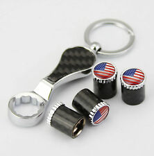 4x Kohlefaser Auto  Reifen Ventilkappen + Wrench schlüsselanhänger USA Flagge