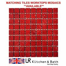 TILE MOSAIC RED QUARTZ SHEETS WITH MIRROR FLECK