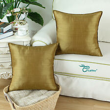 Set of 2 Cushion Covers Pillows Shells Striped Dyed Gold Home Sofa Decor 50x50cm