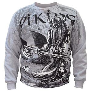 VIKING VAHALLA - Mens Sweater - Grey Cotton