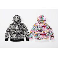 SUPREME x Hysteric Glamour Text Hooded Sweatshirt White Black M box logo F/W 17