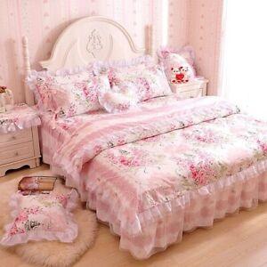 100% Cotton Bedding Set Ruffles Korean Bed Set Lace Bed Skirt Set Princess Cover