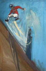 Impressionist oil painting roller skater portrait