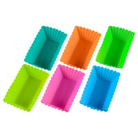 10pcs/pack Silicone Rectangle Cake Muffin Cupcake Chocolate Bake Cup Mold Random