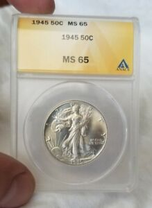 1945 50C Walking Liberty Half Dollar ANACS MS-65 100% Brilliant
