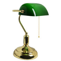 Traditional Antique Brass + Green Bankers Table Office Desk Lamp Lounge Light UK