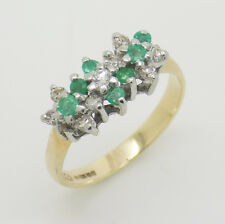 9ct Yellow Gold Emerald & Diamond Cluster Ring - Size J   Free Delivery