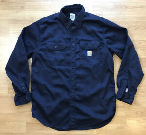 CARHARTT Work Shirt FR Flame Resistant Long Sleeve Button Down Navy Large