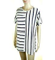 Camicia Lunga Blusa Donna Microabito RISSKIO Camicione I999 Blu/Bianco Tg S L