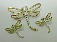 Dragonfly PIN and EARRINGS EUC Jewelry Set Silver Tone Gold Tone Pierced Stud