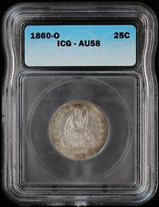 1860 O Seated Liberty Quarter 25c ICG AU 58