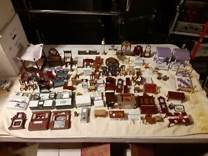 Large Lot Of Dollhouse Furniture Miniature