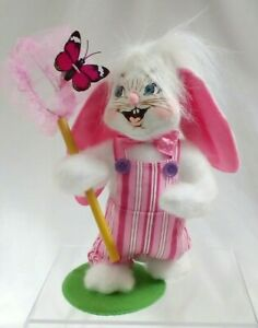 """ANNALEE 2011 Easter BOY Bunny w Butterfly Mobilitee doll 10"""" Spring pink stripe"""