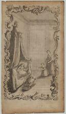 Mutter + KIND Baby WIEGE Original Kupferstich um 1750 Ornament Rollwerk Kunst