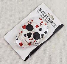 Superb Hand Painted Poker Face Playing Card Skull Fridge Magnet Bottle Opener