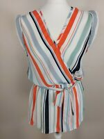 New Look UK 10 striped summer Blouse Shirt Sleeveless Elasticated and Tie Waist