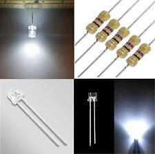 5 diodi led bianco freddo 5 mm TESTA PIATTA alta luminosità + RESISTENZE