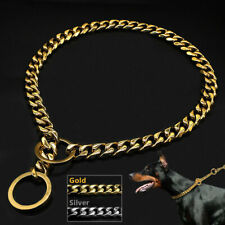 Gold Silver Snake Chain Dog Collar Heavy Duty Slip Show Choker Training Pitbull