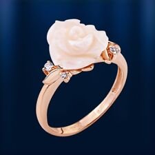 Russische Rose Gold 585 Ring mit Korall und CZ Rosa Rose Роза Toller Ring!!