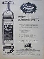 PUBLICITÉ DE PRESSE 1921 PYRENE EXTINCTEUR D'INCENDIE POUR AUTOMOBILES