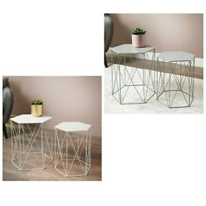Malvern Side Coffee Tables Top Champagne Hexagonal Set of 2 Home Furniture