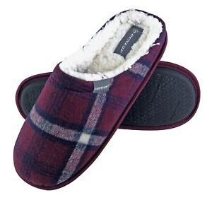 DUNLOP - Mens Indoor Warm Cozy Fur Lined Slip On Plaid  House Slippers Slides