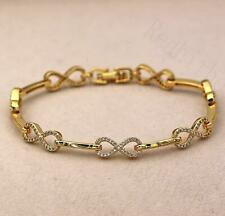 """18K Gold Filled Zircon Hollow Number """"8"""" Bowknot Cuff Chain Party Bracelet DS"""