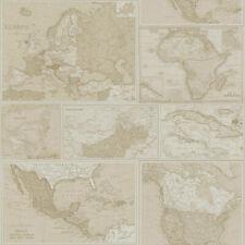 Holden Vintage Retro Globetrotter Maps Neutral Beige Brown Feature Wallpaper