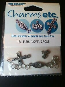 Charms etc. FISH, LOVE, CROSS Real Pewter Charms - Nickel-free and Lead-free