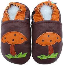 carozoo soft sole leather baby shoes mushroom purple 0-6m