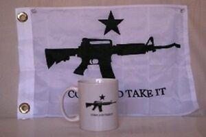 White Come and Take It Tea Party 12 oz Ceramic Mug w/ 12x18 tea party flag