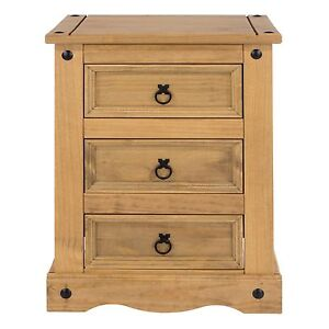 Corona Bedside Cabinets 3 Drawers Large Table Solid Wood Mexican Pine