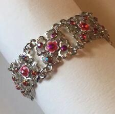 Red Filigree Enamel Bracelet . Silver Chain Lobster Clasp Stones Sparkle A007
