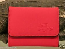 New Authentic LACOSTE Ladies Girls COIN / CARD PURSE Classic 4 Red