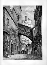 Stampa antica FIRENZE Chiesa di San Michele 1877 Old print Florence