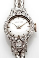 Antique ART DECO Tiffany & Co Platinum Ladies 2ct FRENCH CUT Diamond Watch WTY
