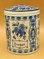 Vintage Delft Blue Holland Lidded Sugar Beautiful 4 Languages